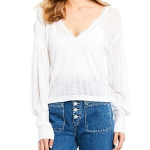 Free People | Dreamgirl Long Sleeve Lace Trim Crop